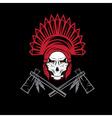 Native American chief skull in tribal headdress vector image