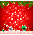 Christmas balls in the snow on red background vector image vector image