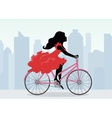 Woman rides a Bicycle on the background of the vector image