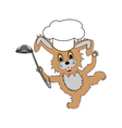 A funny cartoon rabbit wearing a chef hat vector image