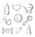 Baby and childhood sketched icons vector image