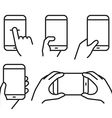 Different variations of holding a modern phone vector image