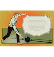 People in retro style Man throws ball in bowling vector image