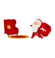 santa claus with christmas presents and armchair vector image