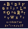 Bones alphabet Letters Halloween cartoon style vector image