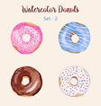 Hand painted isolated watercolor donuts vector image