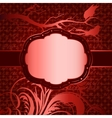 Red luxury background with tree branch and birds vector image vector image