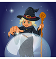 A witch with a cane in front of a magical ball vector image vector image