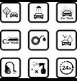 Car wash black icon set vector image