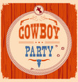 cowboy party western card background with guns vector image