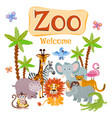 zoo with wild cartoon safari vector image