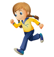 A cute girl jogging vector image vector image