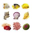 Sea Fauna Icons vector image vector image