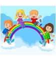 Cartoon Happy kids sitting on rainbow vector image