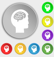 Brain icon sign Symbol on eight flat buttons vector image