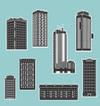 building and skyscrapers silhouette set vector image