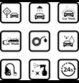 car wash black icon set vector image