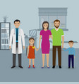 father and mother with two kids visit doctor s vector image