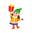 flat girl holding present box vector image