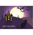 Happy Halloween house scary on blue background vector image