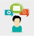 Man avatar and social media design vector image