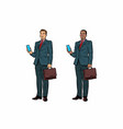 Two businessmen african american and caucasian vector image