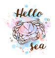 Blue watercolor texture and crab vector image