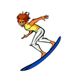 Side view of man on surfboard vector image vector image