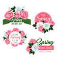 spring time greeting quotes and flowers set vector image