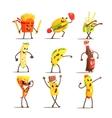 Fast Food Cartoon Characters Set vector image