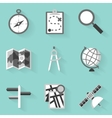 Flat icon set Navigation White style vector image