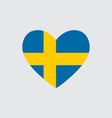 heart in colors of the sweden flag vector image