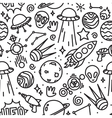Life in space seamless pattern black and vector image