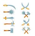 set of cartoon game design crossed swords vector image