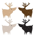 Set of four cute reindeers in gentle vintage style vector image