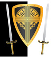 fantasy shield and swordsthird variant vector image vector image