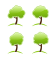 Abstract green various icons trees vector image