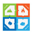 Set of 4 elements fire water air ground vector image