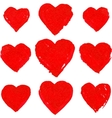 Red acrylic painted hearts set vector image