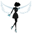 Silhouette of a Young Woman with Angel Wings vector image