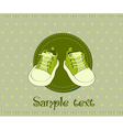 baby shoes arrival card vector image