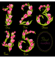 Set of floral decorative numbers vector image vector image