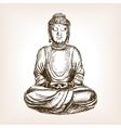 Buddha statue hand drawn sketch style vector image