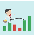 Business man step over the negative graph vector image
