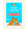 colorful pile of christmas gifts and hand vector image