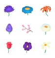 Flowers icons set cartoon style vector image