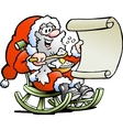 Hand-drawn of an Santa Claus looks on his wish vector image