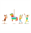 Kids Playing With Horse Shaped Pinata Kids vector image
