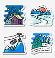 winter landscapes icons set colorful thin simply vector image