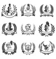 set of the emblems with knights helmets and swords vector image